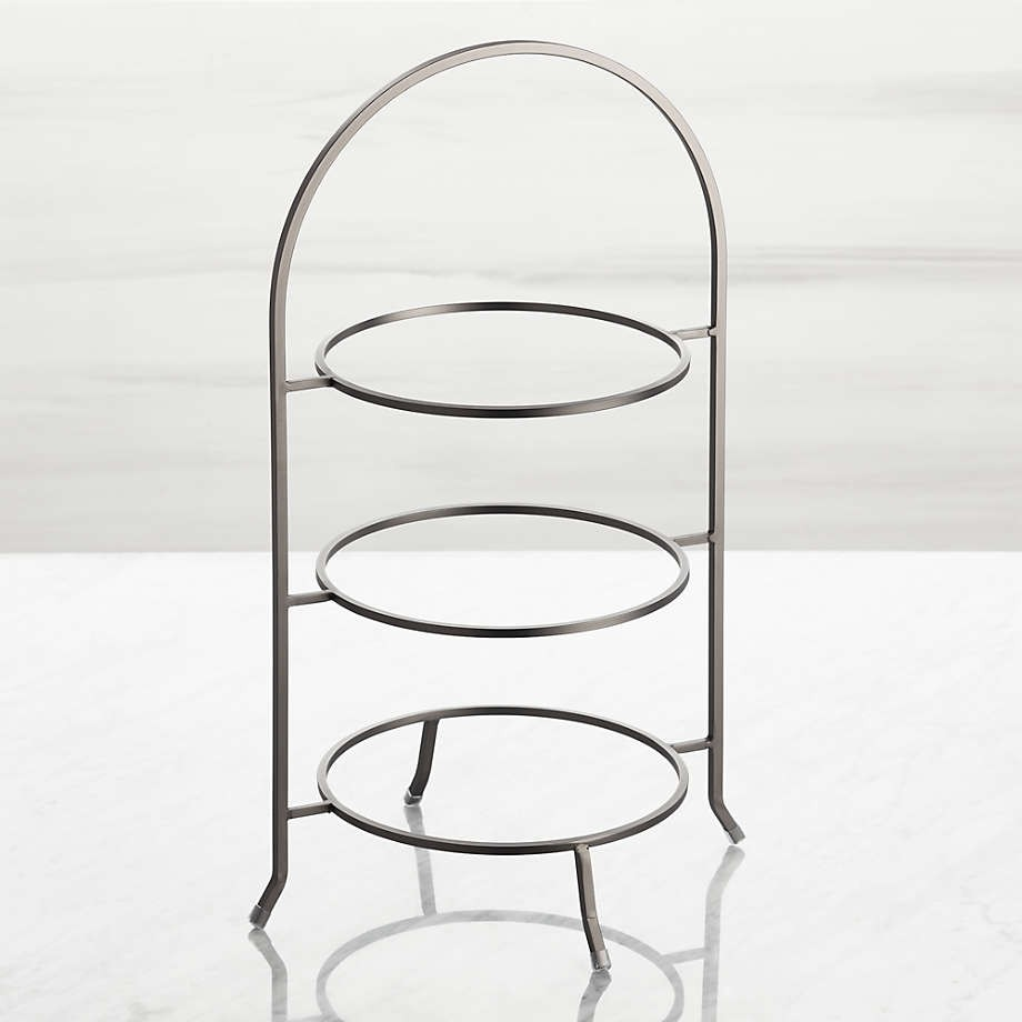 3 Tier Graphite Stainless Steel Serving Plate Stands