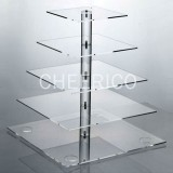 5 Tier Acrylic Square Pole Cupcake Stand