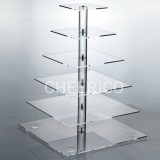 6 Tier Acrylic Square Pole Cupcake Stand Tower Display