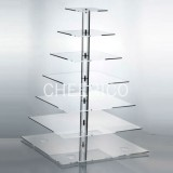 7 Tier Acrylic Square Pole Cupcake Stand Display